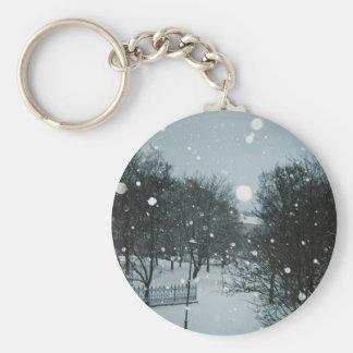 Winter Flakes Basic Round Button Key Ring