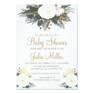 Winter Floral Baby Shower Invitation