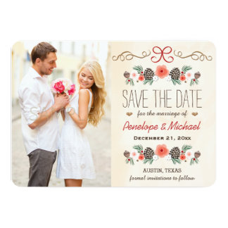 Winter Floral Pine Cone Christmas Save the Date Card