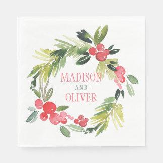 Winter Floral Watercolor Wreath    Wedding Paper Napkin