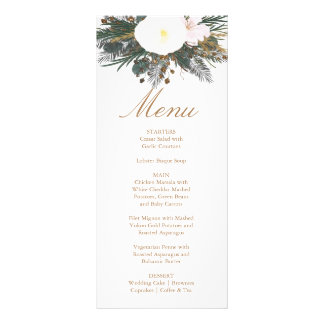 Winter Floral Wedding Menu Card