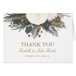 Winter Floral Wedding Thank You Card