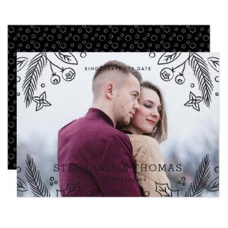 Winter Flourish Save the Date Card - Onyx