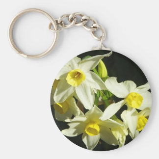 Winter Flowers Basic Round Button Key Ring