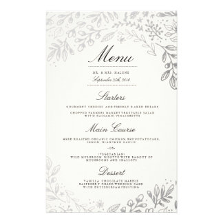 Winter Flowers Wedding Dinner Menu 14 Cm X 21.5 Cm Flyer