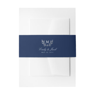 Winter Flowers Wedding Invitation Belly Band