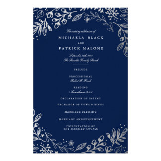 Winter Flowers Wedding Program 14 Cm X 21.5 Cm Flyer