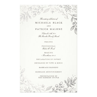 Winter Flowers Wedding Program Flyer