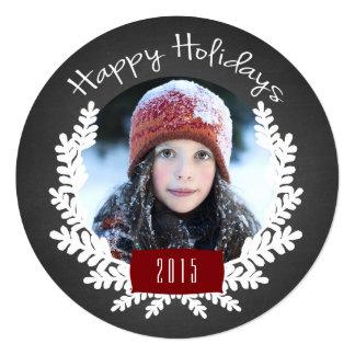 Winter Foliage Chalkboard | Holiday Photo Card 13 Cm X 13 Cm Square Invitation Card