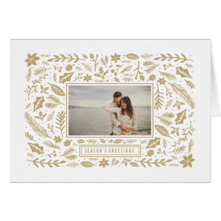 Winter Foliage Gold Greeting Card