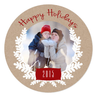 Winter Foliage Kraft Paper | Holiday Photo Card 13 Cm X 13 Cm Square Invitation Card