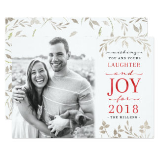 Winter Foliage Laughter & Joy New Year Photo Card