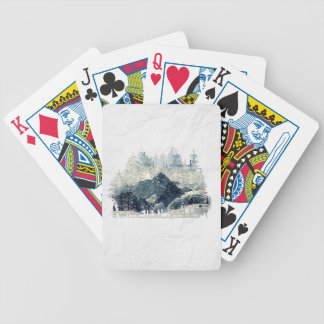 Winter Forest Bicycle Playing Cards