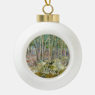 winter forest ceramic ball christmas ornament