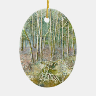 winter forest ceramic ornament