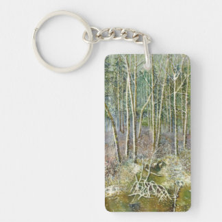 winter forest key ring