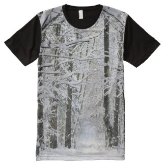 Winter Forest Path All-Over Print T-shirt