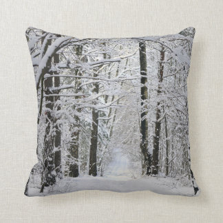 Winter Forest Path Throw Pillow Cushion