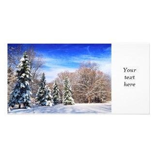 Winter forest custom photo card