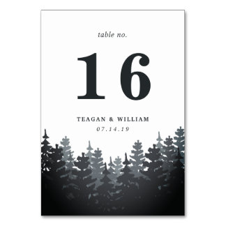 Winter Forest Table Number Card