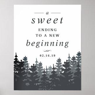 Winter Forest Wedding Dessert Table Sign