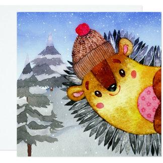 Winter Forest Woodland Friends Hedgehog Drawing Card