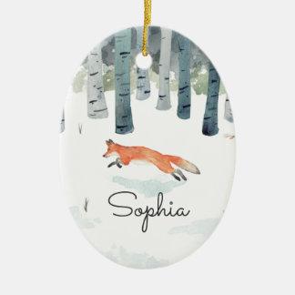 Winter Fox Ceramic Ornament