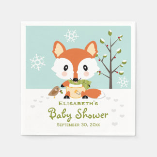 Winter Fox in Diapers Baby Shower Disposable Napkins