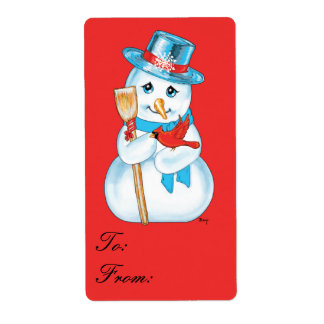Winter Friends Adorable Snowman Cardinal Gift Tag