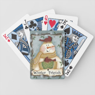 Winter Friends Snowman Cardinal Playing Cards
