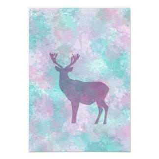 Winter frost deer silhouette pastel colors Print Art Photo