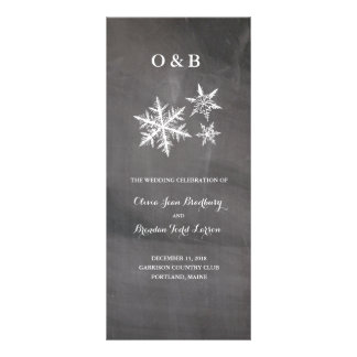 Winter Frost Snowflakes Chalkboar Ceremony Progam Custom Rack Card