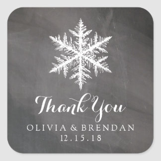 Winter Frost Snowflakes Chalkboard | Wedding Favor Square Sticker