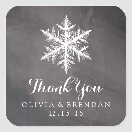Winter Frost Snowflakes Chalkboard | Wedding Favor Stickers