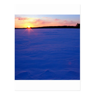 Winter Frozen Moose Lake At Sunset Minnesota Postcard