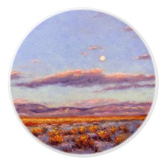 Winter Full Moon at Dusk in Mountain Ceramic Knob
