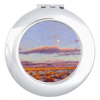 Winter Full Moon at Dusk in Mountain Comp Mirror Mirror For Makeup