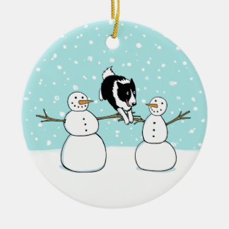 Winter Fun Holiday Border Collie Dog with Snowmen Ceramic Ornament