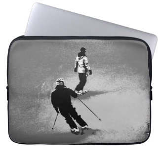 Winter Fun - Skier and Snowboarder Laptop Sleeve