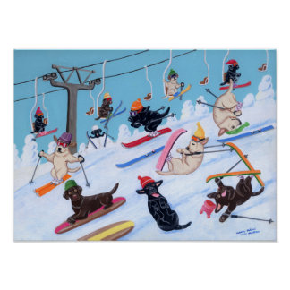 Winter Fun Skiing Labradors Artwork Poster