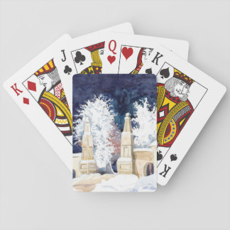 Winter gate at night playing cards