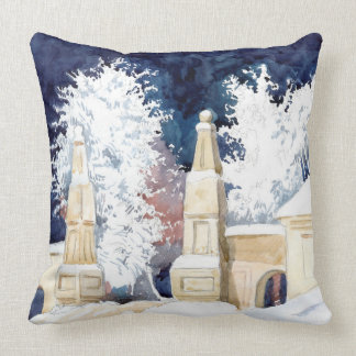 Winter gate at night (sketch) cushion