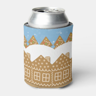 Winter Gingerbread Street Can Cooler