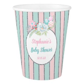 Winter Girl Baby Shower decor, pink mint silver Paper Cup