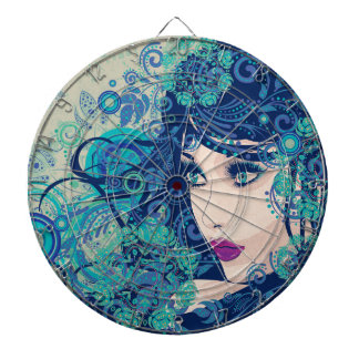 Winter Girl with Floral Grunge 3 Dartboard