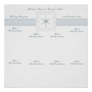Winter Glitter Snowflakes Wedding Seating Chart Poster