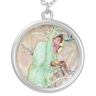 Winter Goddess Round Pendant Necklace