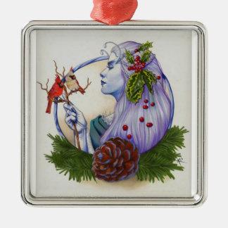Winter Goddess Silver-Colored Square Decoration