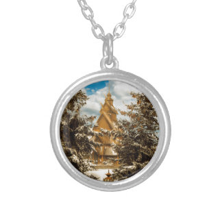 Winter Gol Church Minot North Dakota Silver Plated Necklace