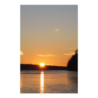 Winter Golden Sun Ray Reflects on Junior Lake Stationery